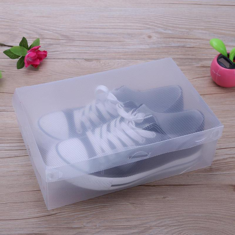 10pcs Transparent Clear Plastic Shoe Box Storage Shoe Boxes Foldable Shoes Case Holder Transparent Shoes Organizer