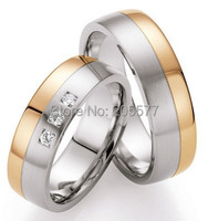 2014 fashion jewelry trend western bicolor rose gold color health Wedding bands Ring Sets