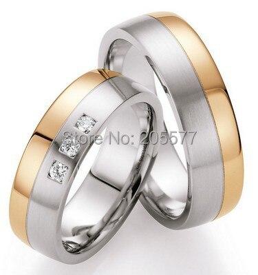 2014 mode bijoux tendance western bicolore or rose couleur santé bandes de mariage anneaux ensembles