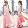 CELMIA Novas Mulheres Da Moda Rendas Costura Vestido Maxi Vestidos Elegantes Senhoras O pescoço Sem Mangas Long Beach Vestidos de Festa Plus Size