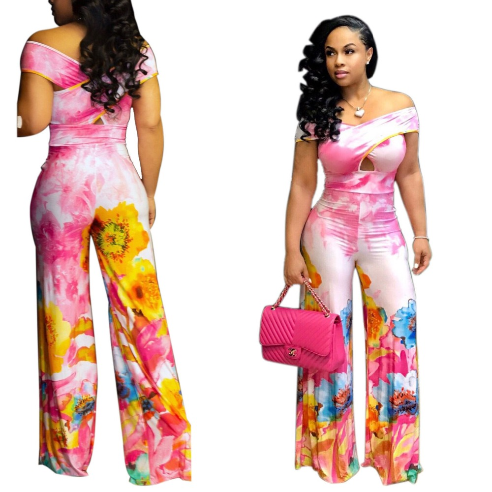Europe and the United States hot fashion summer casual loose sleeveless sexy wide-leg jumpsuit Beautiful lady printed jumpsuit