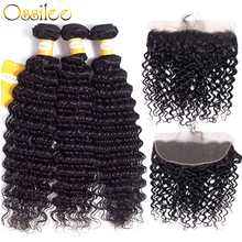 hot deal buy deep wave bundles with frontal brazilian human hair weave bundles with frontal closure 3/4 bundles with frontal ossilee remyhair