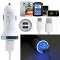 Type C USB Charging Cable+LED Light Car Charger For LG G5 For Nexus 5X/6P For One plus 2