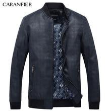 CARANFIER Men Simple PU Leather Jacket Men Super Soft Windproof Male Classic Tactical Cool Coat Best