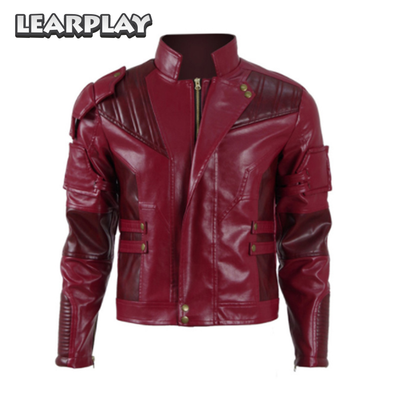 Guardians of The Galaxy 2 Star-Lord Jacket Cosplay Costume 2017 Peter Quill Red Coat PU Leather Man Outwear Halloween Outfit
