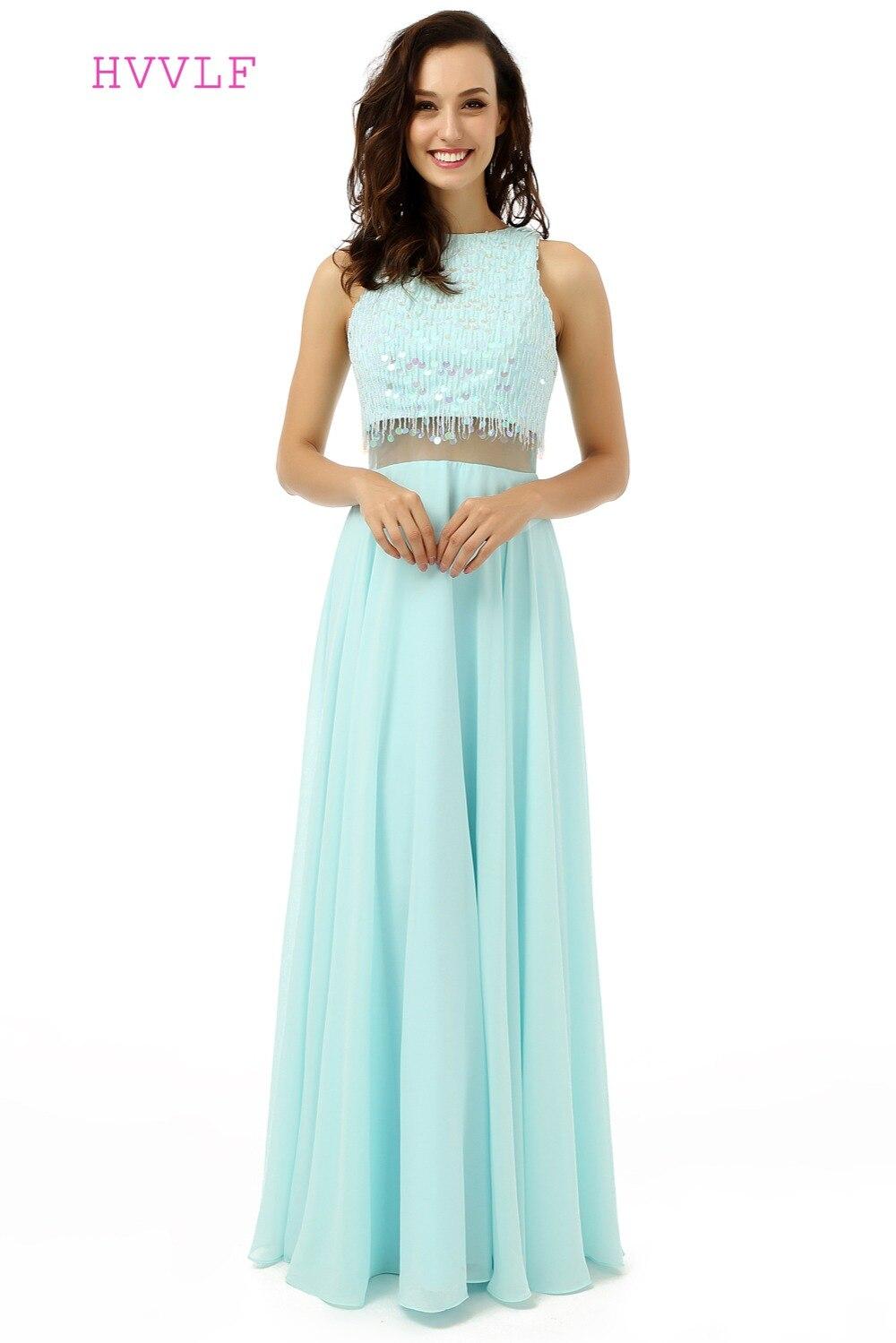 HVVLF deux pièces 2019 robes de bal a-ligne col haut Turquoise mousseline de soie Sequin perlé robe de bal robes de soirée robe de soirée
