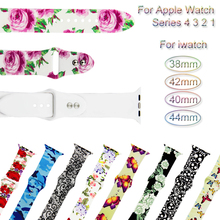 Printed Watch Band For Apple Watch 4 3 2 1 Bracelet Strap For iwatch 44mm 40mm 38mm 42mm loop Sport Silicone Wrist Watchband все цены
