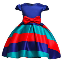 New Girls Striped Dress Princess Ball Gown Party Dresses Rainbow Color Children S Clothing For Kids