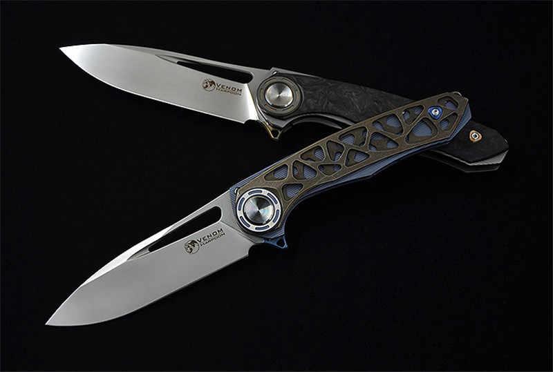 Новый гарпун VENOM ножи M390 Сталь путешествий складное лезвие, выдолбленные titanium или ручка из углеродного волокна, охота рыболовные снасти нож