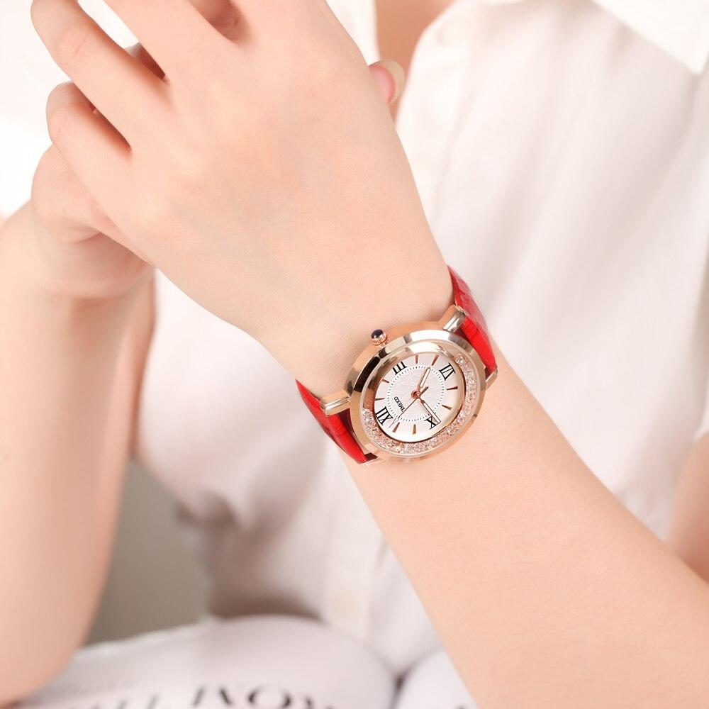 26f27508101 Nova TIME100 Relógios Femininos Pulseira de Couro Vermelho Numeral Romano  Discar Grande Relógios de Pulso de Quartzo para as Senhoras Relógio Feminino  em ...
