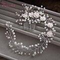 Handmade penteia o cabelo de Noiva tiara floral mulheres jóia da pérola acessórios para cabelo cabelo ornamentos hairband nupcial tiara casamento RE1