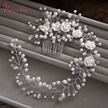 handmade hair combs Bridal floral headband women pearl jewelry hairband bridal tiara wedding accessories hair ornaments RE1