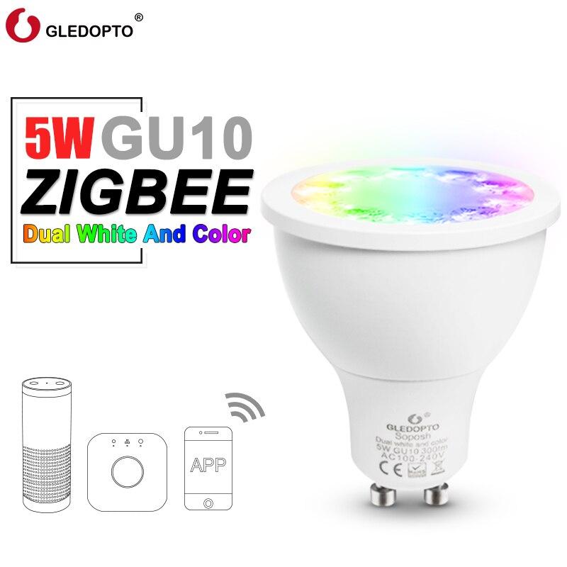 Double projecteur de LED blanc et couleur soposh GU10 RGBW/CW 5 W ZGBEE ZLL AC100-240V travail avec lampoule cct gu10 damazon echo plus LEDDouble projecteur de LED blanc et couleur soposh GU10 RGBW/CW 5 W ZGBEE ZLL AC100-240V travail avec lampoule cct gu10 damazon echo plus LED