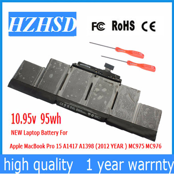 10.95v 95Wh New Original A1417 Laptop Battery for Apple MacBook Pro A1398 15
