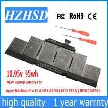 Новый оригинальный аккумулятор a1417 1095 в 95 Вт/ч для ноутбука