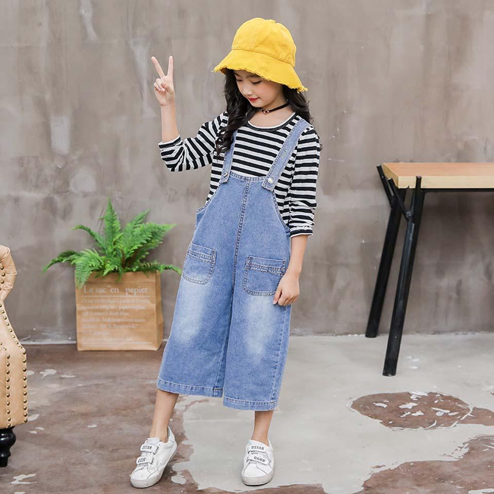 2PCS Toddler Kids Baby Girl Clothes Set Kid Girl Autumn Cotton Stripe T shirt Tops + Denim Pants Jeans Clothes Set 4 13 Years