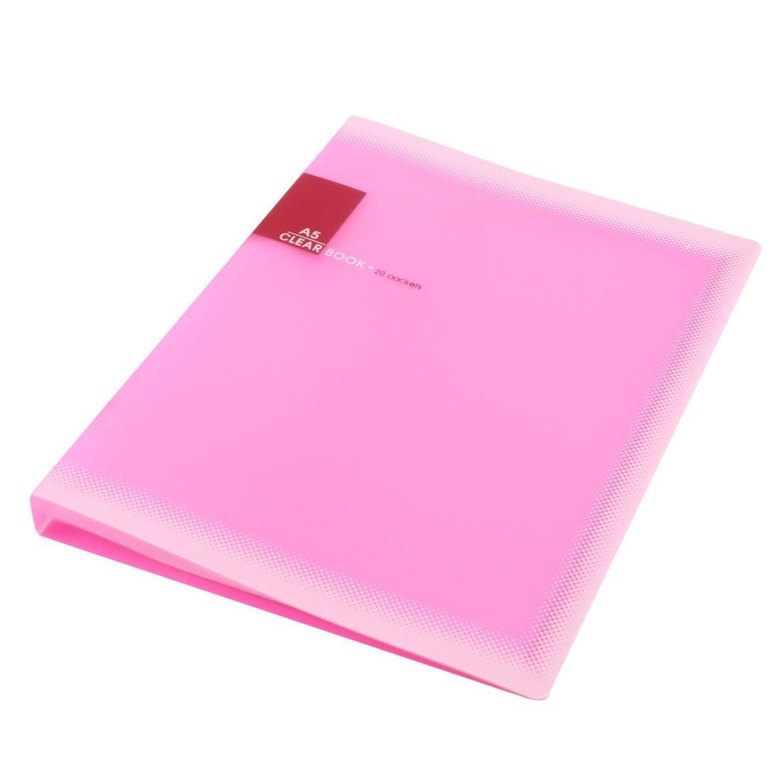 Plastic A5 Paper 20 Pockets File Document Folder Holder, Pink