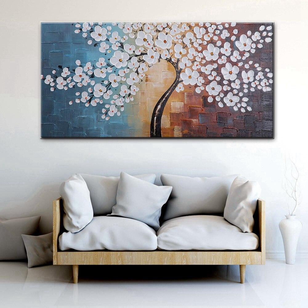 Цветущая Жизнь экстра большие белые цветы произведение искусства нарисованный вручную цветочный картина маслом на холсте настенное искус...