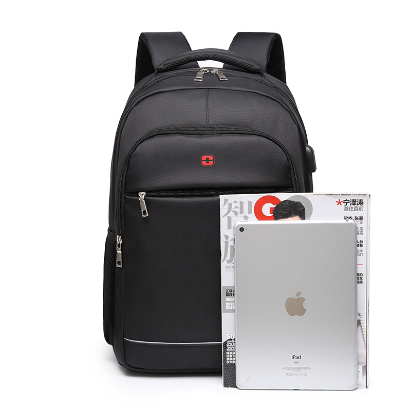 Image 4 - Charging USB teens School Bags for Teenage Boys Backpack men nylon black solid High Quality student SchoolBag Preppy Style 2019-in School Bags from Luggage & Bags