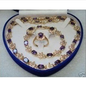 Hot Fashion Jewellery set Beautiful Purple Topaz necklace bracelet ring Sets With 14K wedding Necklace Set free shipping