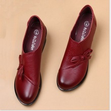 Spring Autumn Fashion Loafers 100% Genuine Leather Single Shoes Soft Casual Flat Shoes Women Flats mother shoes 35-40 # цены онлайн