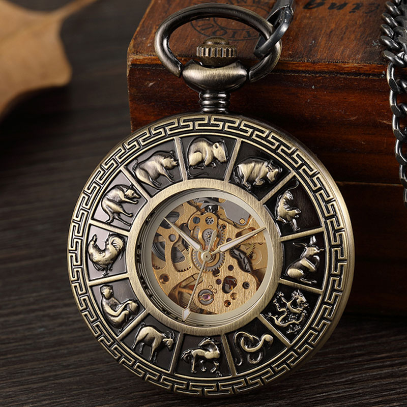 Retro Chinese Zodiac Hand Wind Mehanical Men Pocket Watch Vintage Hollow Bronze Steampunk Necklace Watch With Chain Gift