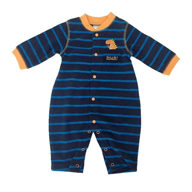 Lindo Dino Azul Rayas Bebé Recién Nacido Fleece Mameluco Del Mono Macacão Bebe Menino Infantil-Ropa de Manga Larga Ropa de Los Niños