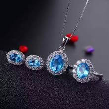 Natural blue topaz gem jewelry sets natural gemstone ring Pendant Earrings 925 silver Stylish Elegant round women party jewelry