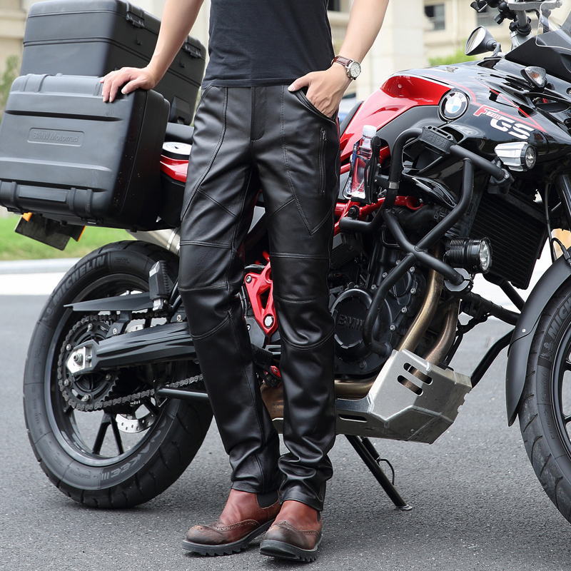 Горячие новые мужские штаны из натуральной кожи мужские облегающие локомотив Брюки Корейская версия мотоцикл натуральная овечья кожа брюк
