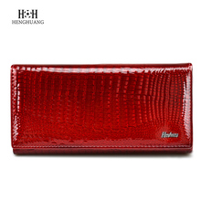 Fashion Alligator Womens Wallets Purses Patent Genuine Leather Ladies clutch Hasp Zipper Coin Pocket Credit Card Wallet