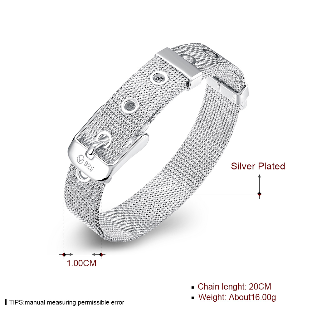 Sobuy Shop Sobuy Silver Bracelet For Men Women 10mm Width Mesh Bracelet Strap Simple Silver Plated Belt Double Buckle Fashion Jewelry
