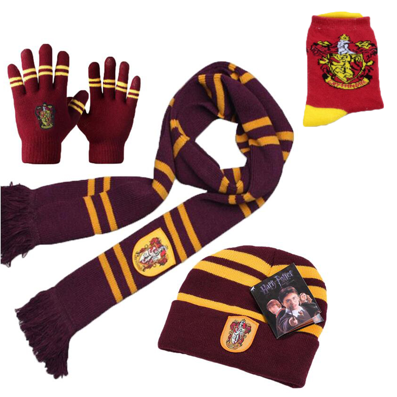 2018 New Harri Potter Scarf Gryffindor Scarf+Cap/Hat+NECKTIE+Socks Soft Warm Scarves Costumes Halloween Christmas gift