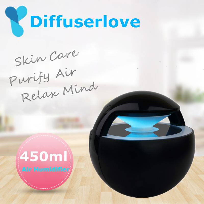 Diffuserlove 450ml USB Air Humidifier Ball Humidifier With Aroma Lamp Essential Oil Ultrasonic Electric Aroma Diffuser Fogger
