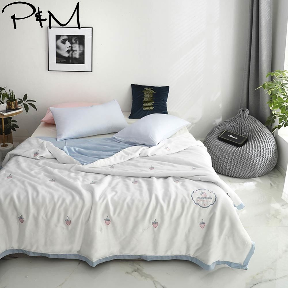 2019 Strawberry Pink White Air-condition Embroidery Comforter Thin Summer Quilt Artificial Silk Fabric Polyester Queen Size2019 Strawberry Pink White Air-condition Embroidery Comforter Thin Summer Quilt Artificial Silk Fabric Polyester Queen Size