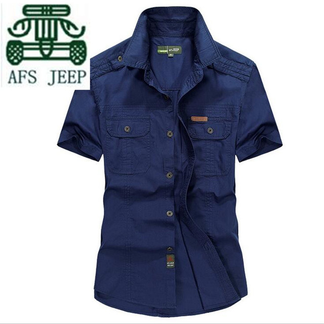 AFS JEEP Plus Size 4xl/5xl Verde/Caqui/Azul dos homens de Moda de Alta Qualidade de Algodão de Manga Curta camisa, Simples Botões Cardigan Camisas