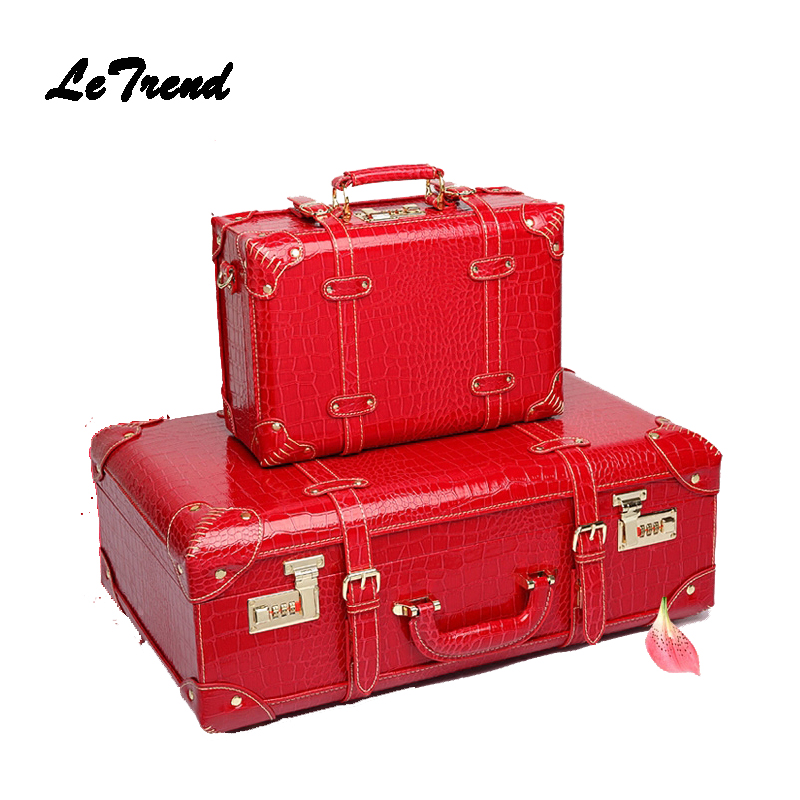 LeTrend Red Retro Crocodile Leather Suitcase Wheel Women Trolley Wedding Travel Bag Trunk Carry On Luggage Password Hardside car trunk storage box folding suitcase with wheel portable new top quality travel trolley carts 3 colors daily usage