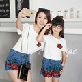 New Family Clothing Matching Mother Daughter Clothes Floral Printing Fashion Style White Short-sleeve T-shirt + Pants