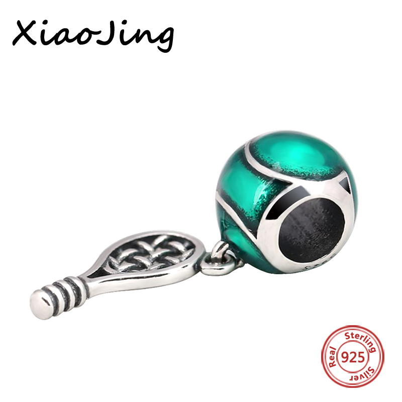 New Arrival Silver 925 Beads Tennis racket Charms Pendant Beads Fit pandora Bracelets charms For Jewelry Making Women Gifts in Beads from Jewelry Accessories