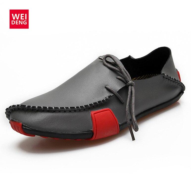 WeiDeng Zapatos de Sprint Zapatos Del Barco Mocasines Planos de Los Hombres Casu