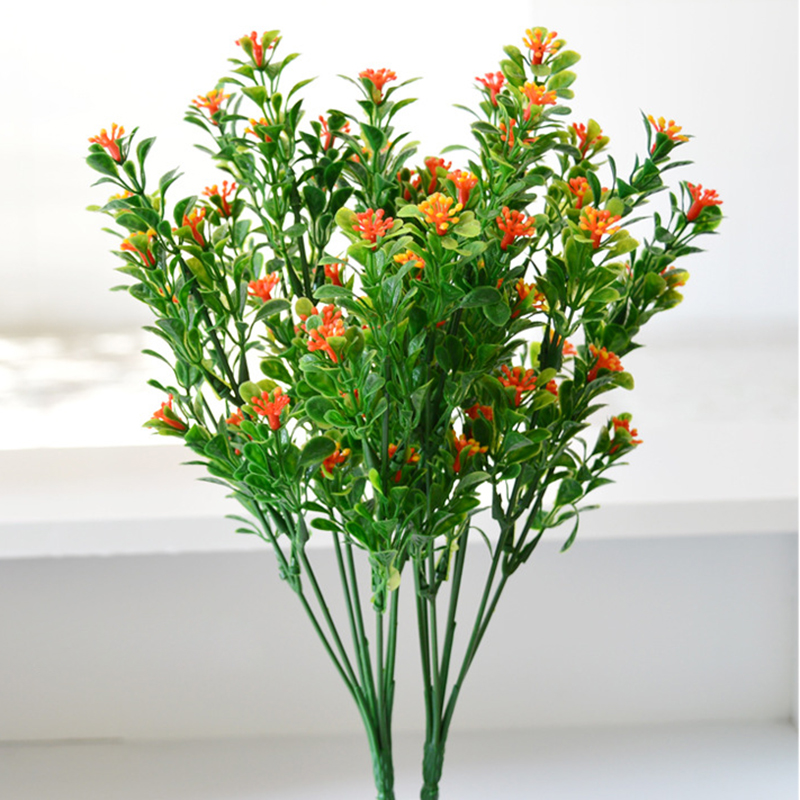 1Pcs=7 branch) Green Bouquet Fake Green Plant Fake Milan Grass with Leaf Setting Wall Decoration Flower Accessories