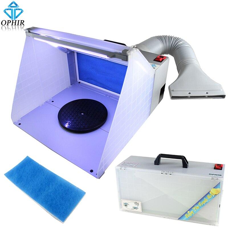 OPHIR 25 W lumière LED aérographe cabine de pulvérisation d'échappement filtre extracteur ensemble pour modèle loisirs artisanat peinture aérographe etabli _ AC076 LED