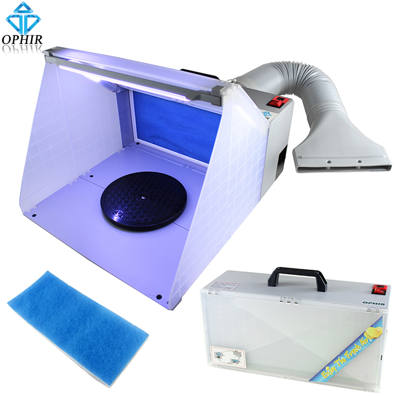 OPHIR 25W LED Light Airbrush Spray Booth Exhaust Filter Extractor Set For Model Hobby Crafts Paint Airbrush Workbench _AC076LED