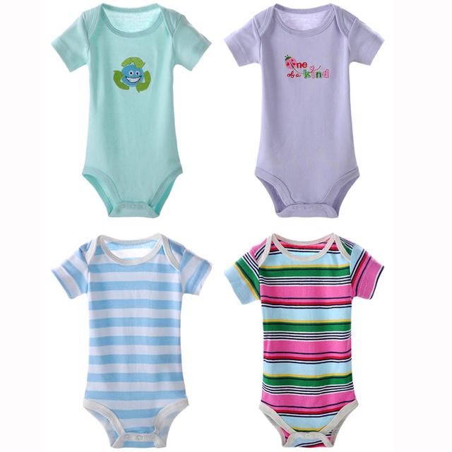 5 pçs/lote estilo verão 2017 bodysuits corpo jumpsuits roupa do bebê de manga curta 100% algodão do bebê dos desenhos animados do bebê boy girl clothing