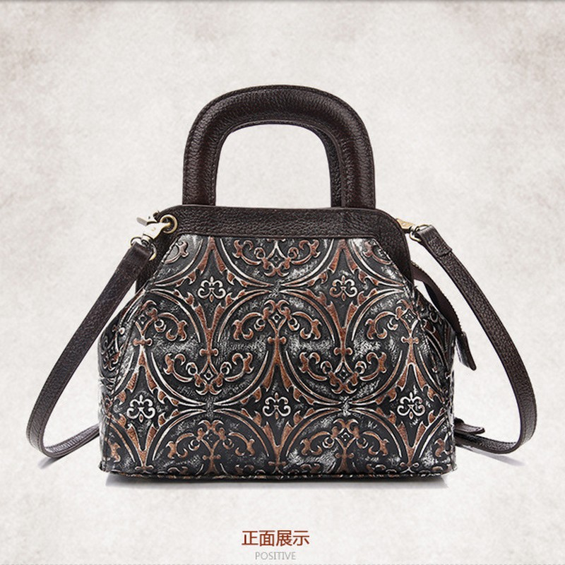 2017 Genuine Leather Handbag Women Small Tote Bag Shoulder Bags Vintage Messenger Bags Ladies Classic Embossed Floral hobos Bag купить дешево онлайн