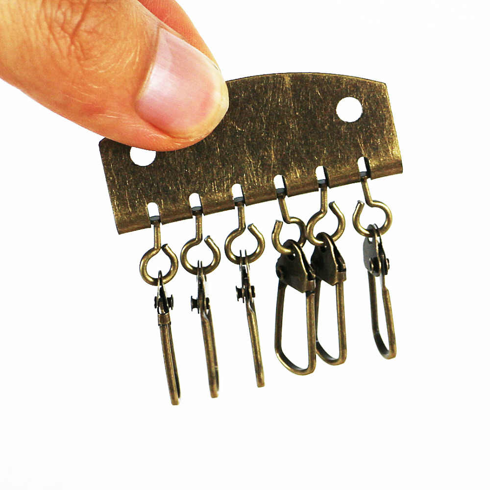 O envio gratuito de 20 pçs/lote interna do saco de couro chave fivela anel 6 anéis baratos carteira DIY acessórios fivela de metal