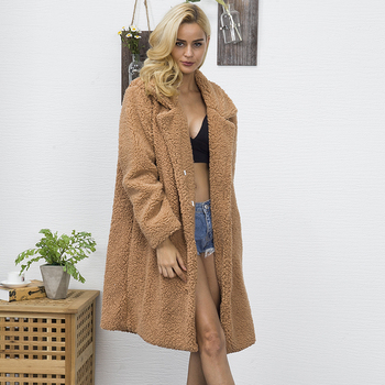 Women Faux Fur Teddy Coat Winter Thick Warm Fluffy Long Fur Coats Fashion Lapel Shaggy Jackets