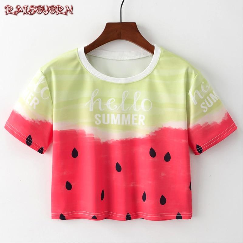 RAISEVERN Rainbow Unicorn T Shirt Women Short Harajuku Short Sleeve Kawaii Summer Tops Tees Casual Girls Crop Top Funny T Shirt