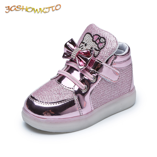 JGSHOWKITO Baby Girl Shoes LED Lighted Up Kids Glowing Sneakers Hello Kitty Cute Luminous Children's Shoes Fashion Soft Quality