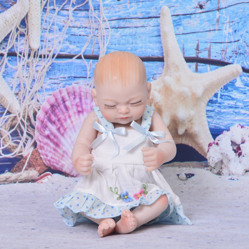 Cute 11 Inch Reborn Alive Doll Realistic Sleeping Girl Toy Full Silicone Body Lifelike Tiny Baby Doll For Toddler Holiday GiftsCute 11 Inch Reborn Alive Doll Realistic Sleeping Girl Toy Full Silicone Body Lifelike Tiny Baby Doll For Toddler Holiday Gifts