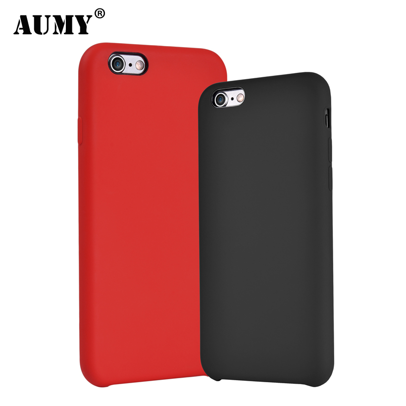 AUMY Original for iPhone 6 Case Cute Skin Friendly Soft Liquid Silicone for iPhone 6S 6 S Plus Luxury Cover Coque Phone Cases